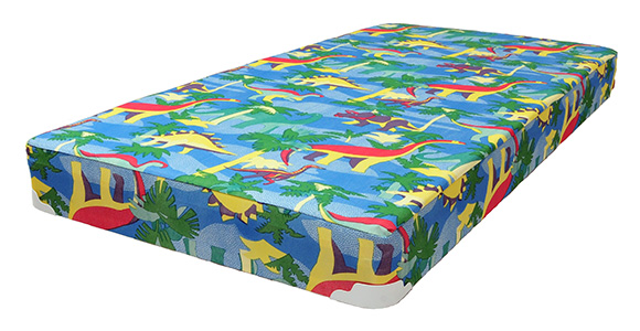 mattress for bunk bed with blue dinosaur pattern print