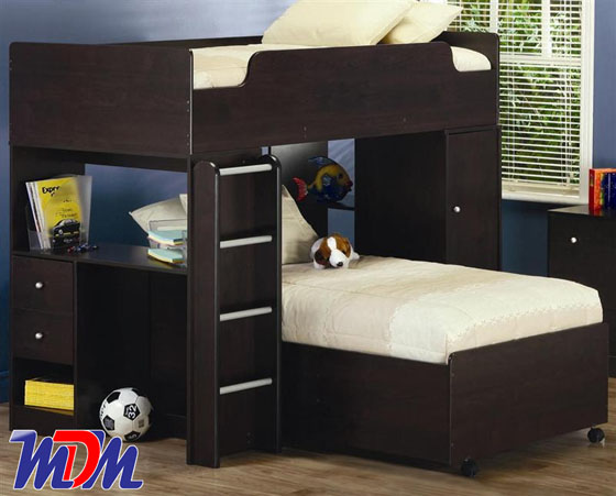Coaster dark loft bunk bed with shelves 400227