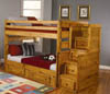 Coaster oak bunk bed with stairs 460096