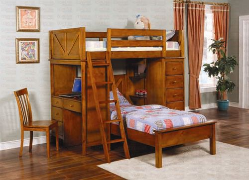 Coaster Workstation Bunk Bed solid oak 460133