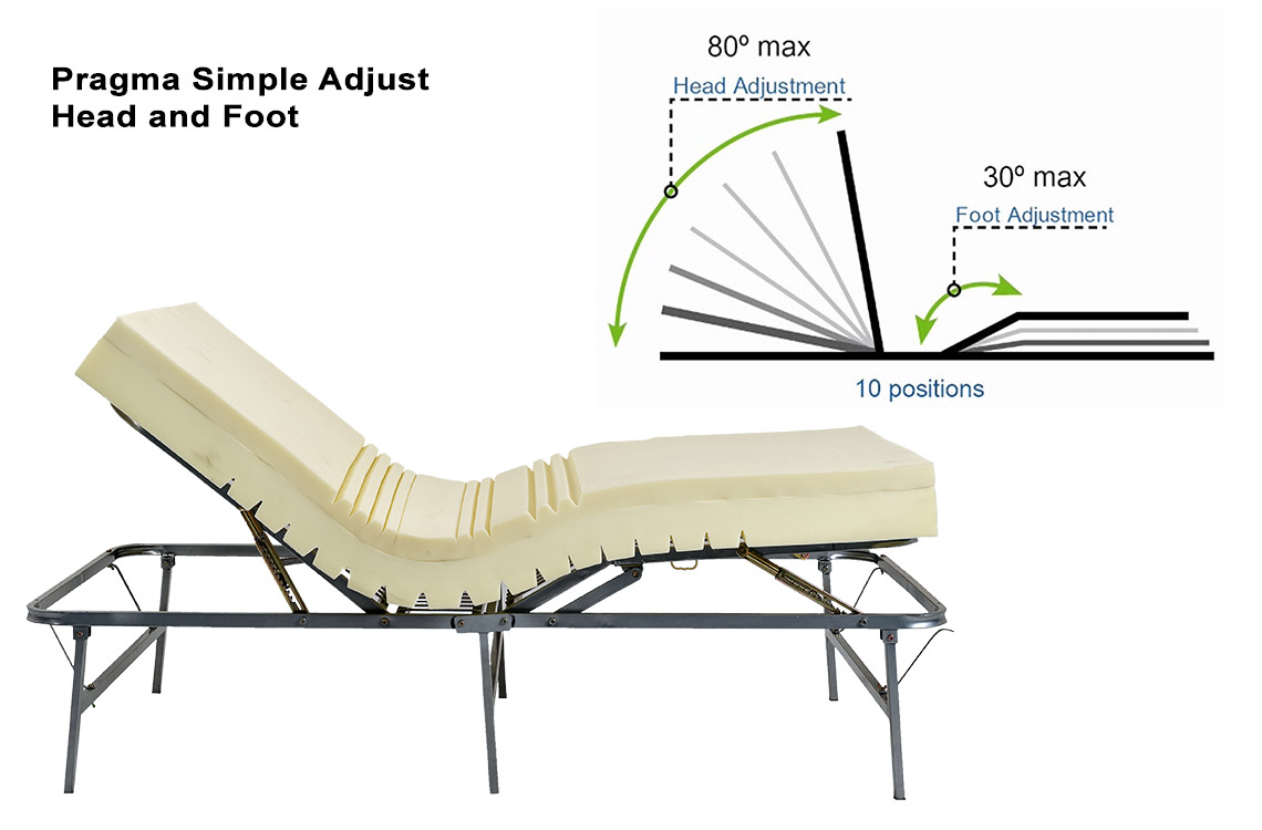 Pragma adjustable metal bed frame raises head and feet for How to raise your bed frame