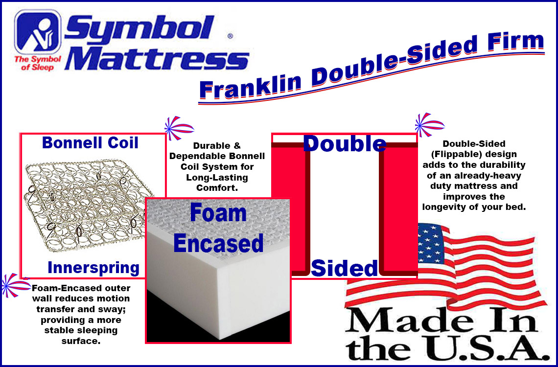 Double Sided Two Flippable Heavy Duty American Made Mattress Symbol Franklin Firm
